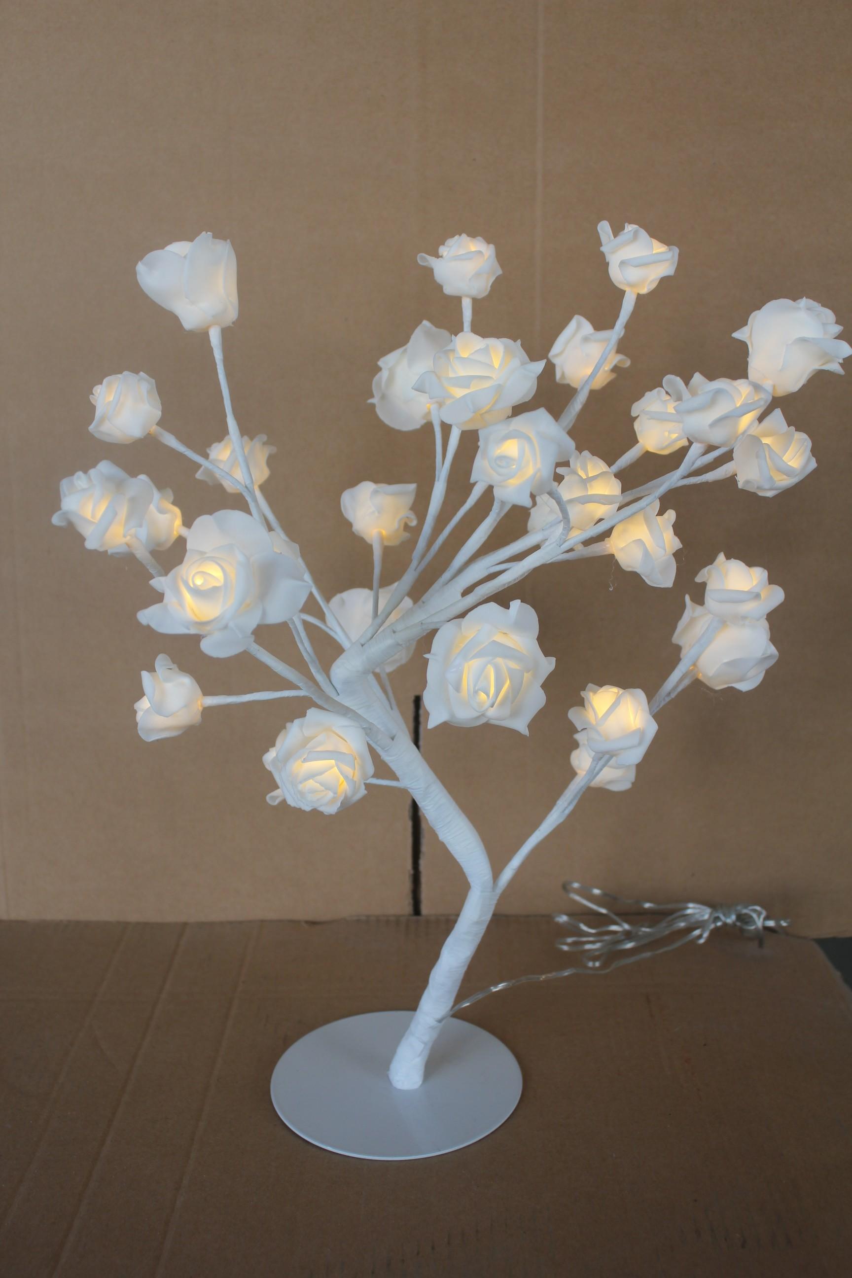 Led Lichterbaum 45cm mit Rosen 32 Led warmweiß Innen Rosenblüten ...