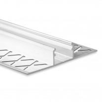 LED Aluminium Fliesenprofil F1 Mirach 2 Meter inkl. Abdeckung Opal/Klar