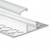 LED Aluminium Fliesenprofil F1 Mirach 2 Meter inkl. Abdeckung Klar