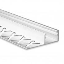 LED Aluminium Fliesenprofil F2 Alya 2 Meter inkl. Abdeckung Opal/Klar
