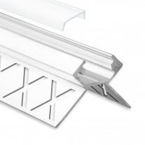 LED Aluminium Fliesenprofil Außeneck F5 Salph 2 Meter inkl. Abdeckung Opal