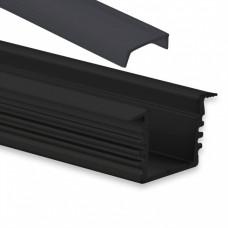 PL 3 glanfar schwarz mit Abdeckung 2 meter Schwarz