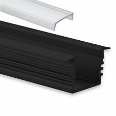 PL 3 glanfar schwarz mit Abdeckung 2 meter Klar