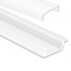 PL8 Subra Aluminium Profil Weiss pulverbeschichtigt f LED Streifen 2M Abd. opal