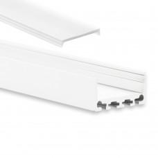 PN4 Minkar C10 Weiß Pulverbeschichtigt Aluminium Profil f. LED Streifen 2m + Abdeckung Weiß/Matt