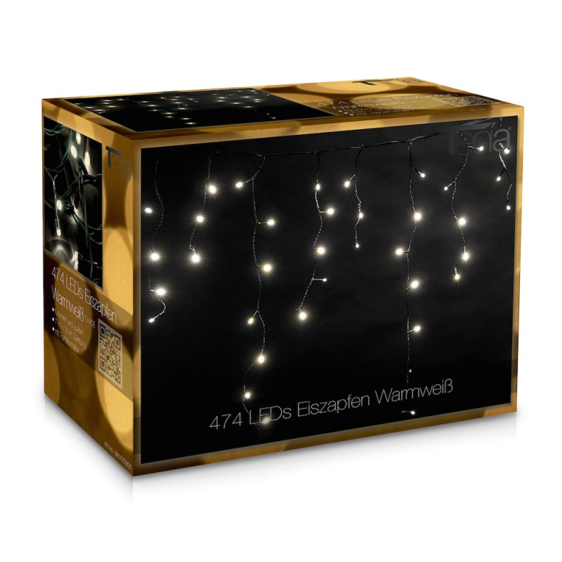 474 led lichterkette lichtervorhang eiszapfen 7m warmwei innen aussen lichtervorhang. Black Bedroom Furniture Sets. Home Design Ideas