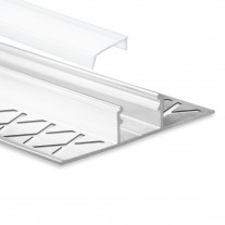 LED Aluminium Fliesenprofil F1 Mirach 2 Meter inkl. Abdeckung Opal