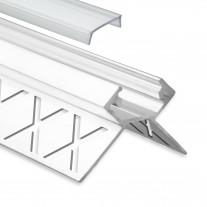 LED Aluminium Fliesenprofil Außeneck F5 Salph 2 Meter inkl. Abdeckung Klar