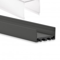 PN4 Merga C3 Schwarz Pulverbeschichtigt Aluminium Profil f. LED Streifen 2m + Abdeckung Opal