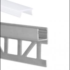 LED Aluminium Fliesenprofil F3 Sadr 2 Meter inkl. Abdeckung Opal f. 8mm Fliesenstärke