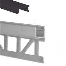 LED Aluminium Fliesenprofil F3 Sadr 2 Meter inkl. Abdeckung Schwarz/Matt f. 8mm Fliesenstärke