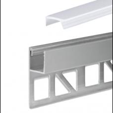 LED Aluminium Fliesenprofil F4 Chara 2 Meter inkl. Abdeckung Opal