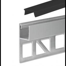 LED Aluminium Fliesenprofil F4 Chara 2 Meter inkl. Abdeckung Schwarz/Matt