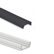 LED Aluminium Aufbauprofil PL1 anser, 2 Meter inkl. Abdeckung schwarz