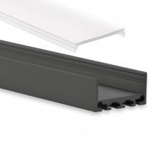 PN4 Cursa C1 Schwarz Pulverbeschichtigt Aluminium Profil f. LED Streifen 2m + Abdeckung Opal
