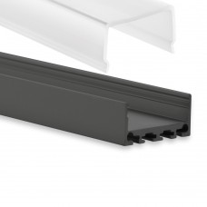 PN4 Kuma C2 Schwarz Pulverbeschichtigt Aluminium Profil f. LED Streifen 2m + Abdeckung Opal