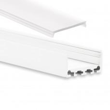 PN4 Cursa C1 Weiß Pulverbeschichtigt Aluminium Profil f. LED Streifen 2m + Abdeckung Opal