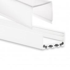 PN4 Merga C3 Weiß Pulverbeschichtigt Aluminium Profil f. LED Streifen 2m + Abdeckung Opal