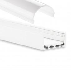 PN4 Minkar C4 Weiß Pulverbeschichtigt Aluminium Profil f. LED Streifen 2m + Abdeckung Opal