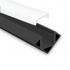 LED Aluminium Profil PO23 Pollux f. LED Streifen Eckprofil Aluprofil Schwarz mit opaler Abdeckung
