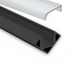 LED Aluminium Profil PO23 Pollux f. LED Streifen Eckprofil Aluprofil Schwarz mit klarer Abdeckung