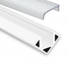 LED Aluminium Profil PO23 Pollux f. LED Streifen Eckprofil Aluprofil Weiß mit klarer Abdeckung