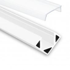 LED Aluminium Profil P23 Pollux f. LED Streifen Eckprofil Aluprofil Weiß mit opaler Abdeckung